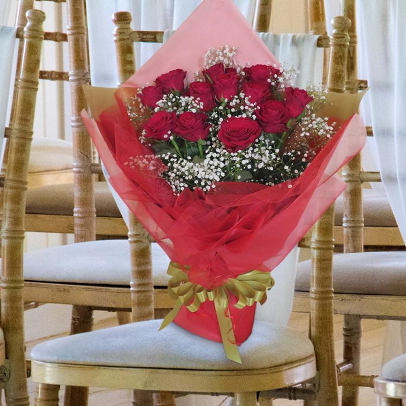 ダーズンローズ 大輪薔薇 バラの花束 赤 12本(1ダース)