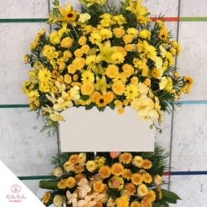 【福岡限定】イエロー系2段スタンド花[自社配達]
