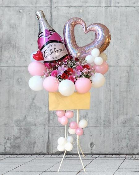 【福岡限定】シャンパンボトルバルーンスタンド花(おまかせ)[自社配達]