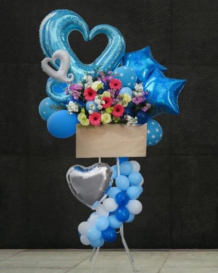 【福岡限定】ブルー系バルーンスタンド花[自社配達]