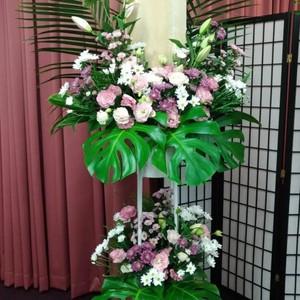 [供花]2段スタンド花(洋花おまかせ)【全国配送】