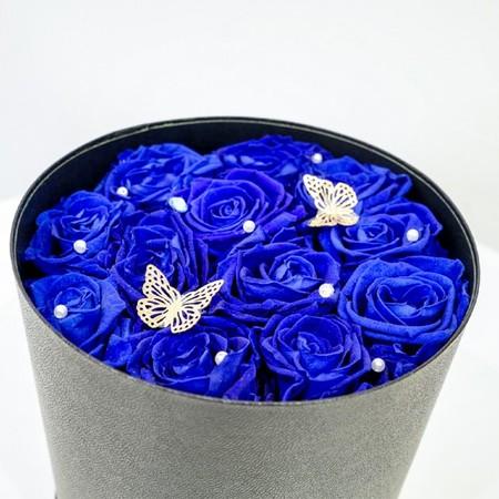 【ABCフラワーオリジナル】BUTTERFLIES ローズボックス  ブルー[全国配送]