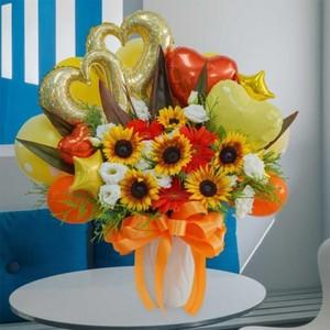 [期間限定]ひまわりと季節のお花のバルーンアレンジメント