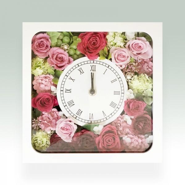 プリザーブドフラワースクエア時計 ミックス
