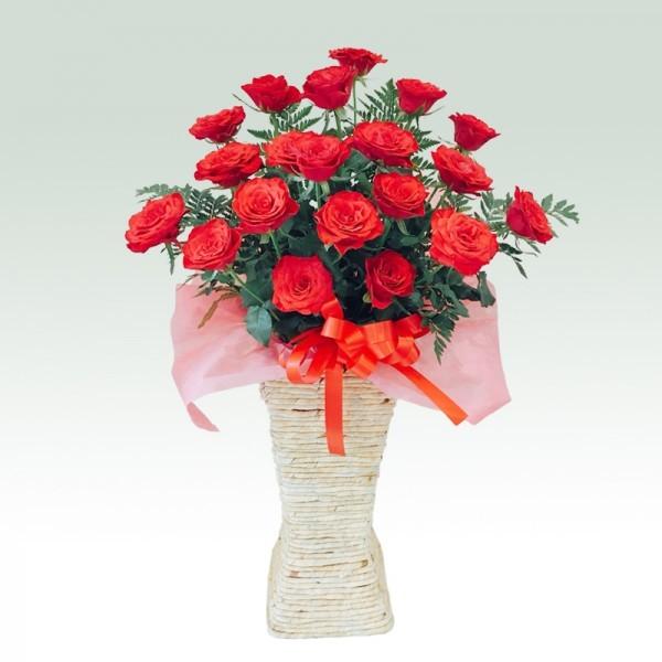 ローズスクエアスタンド花 レッド