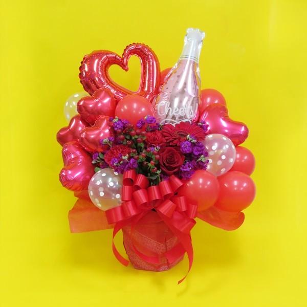 【福岡限定】シャンパンボトル入り赤系おまかせバルーンアレンジメント(おまかせ)[自社配達]