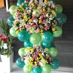 【福岡限定】スターアラウンドバルーン二段スタンド花(おまかせ)[自社配達]