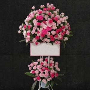 【福岡限定】ピンクローズ2段スタンド花[自社配達]
